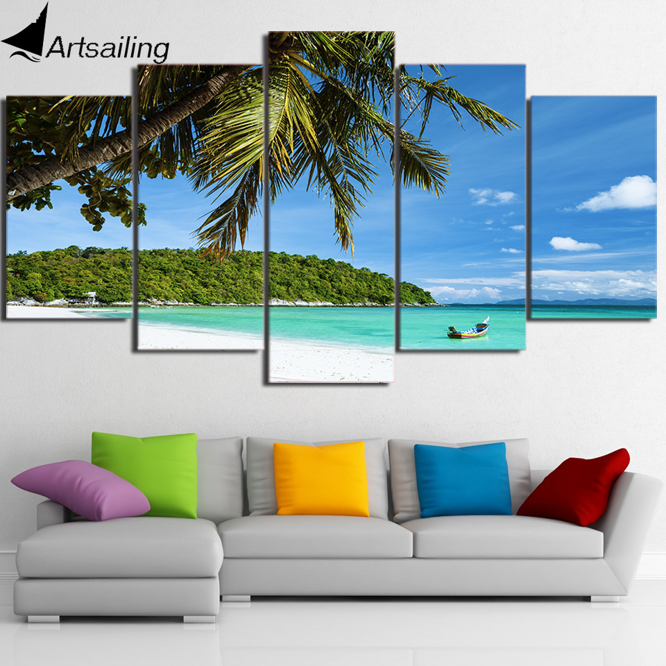 HD Printed 5 Piece Canvas Art Tropical Island Painting Modular Wall Pictures for Living Room Home Decor Free Shipping CU-2342B ...