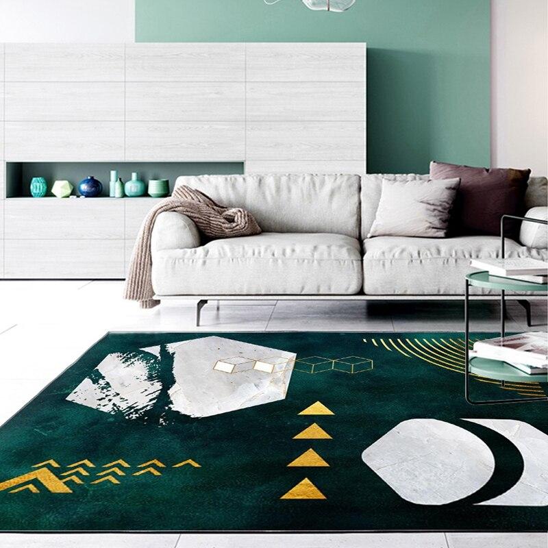 Modern Area Rugs Tapete Abstract Dark Green Creative Geometric Carpet Bedroom Kitchen Door Mat Living Room Non-Slip Floor Mats