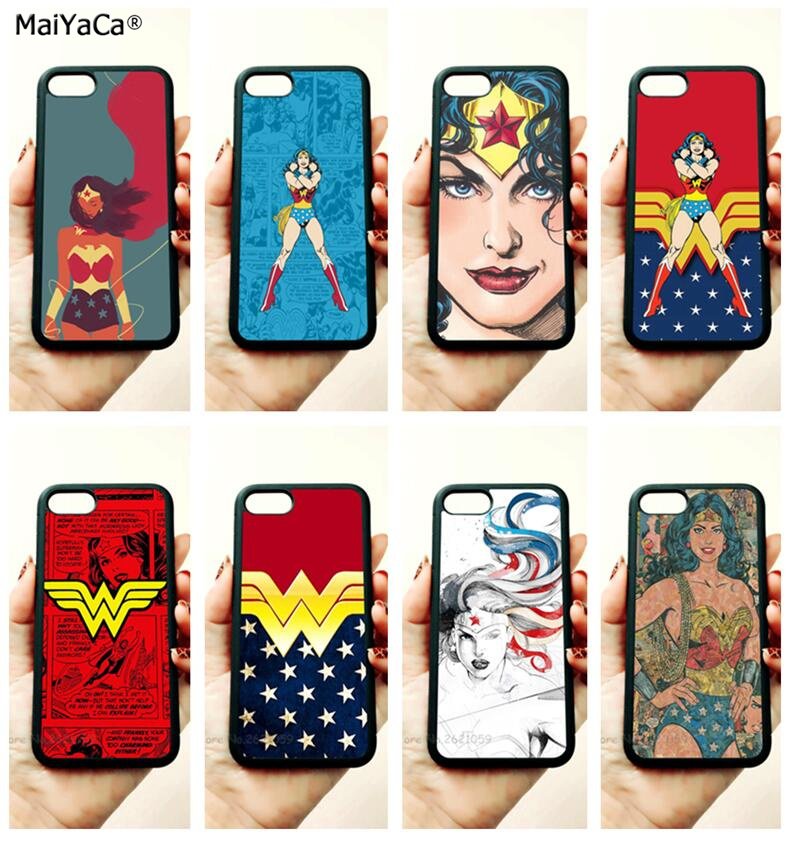 super hero wonder woman soft edge hard back phone case for iphone x 5c 5s se 6 6s plus 7 7plus 8 8plus silicone cover case