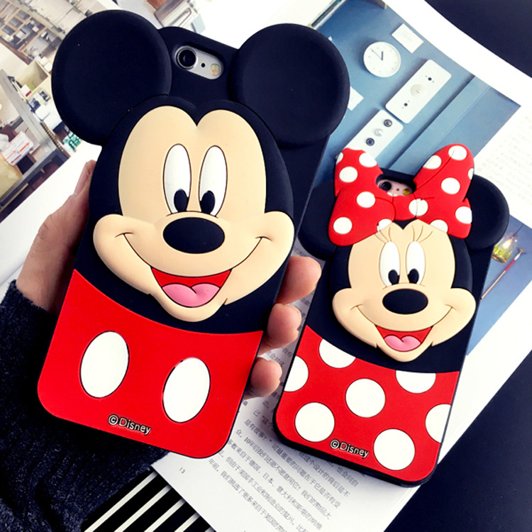 3D Cartoon Mickey Minnie Ears Soft Silicone TPU Rubber Iphone X Xs Max Xr 4 4S 5 5S 5C SE 6 6S Plus 7 Plus 8 Plus Case