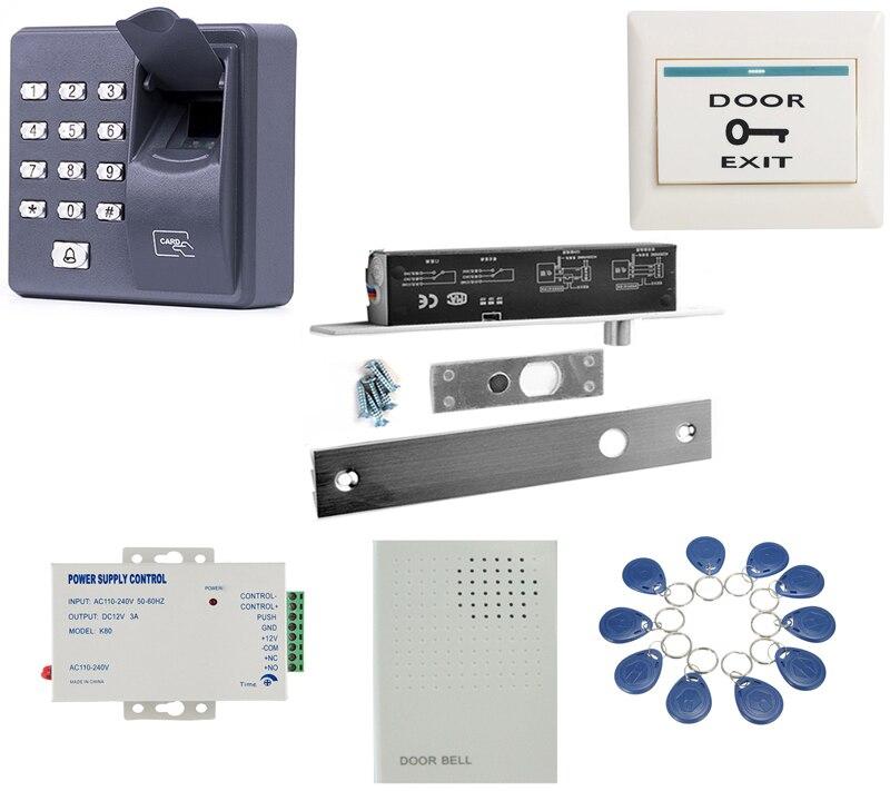 5 fils minuterie et Signal à pêne dormant électrique sûr, kit de verrouillage Dropbolt avec lecteur d'empreintes digitales 10 étiquettes sonnette
