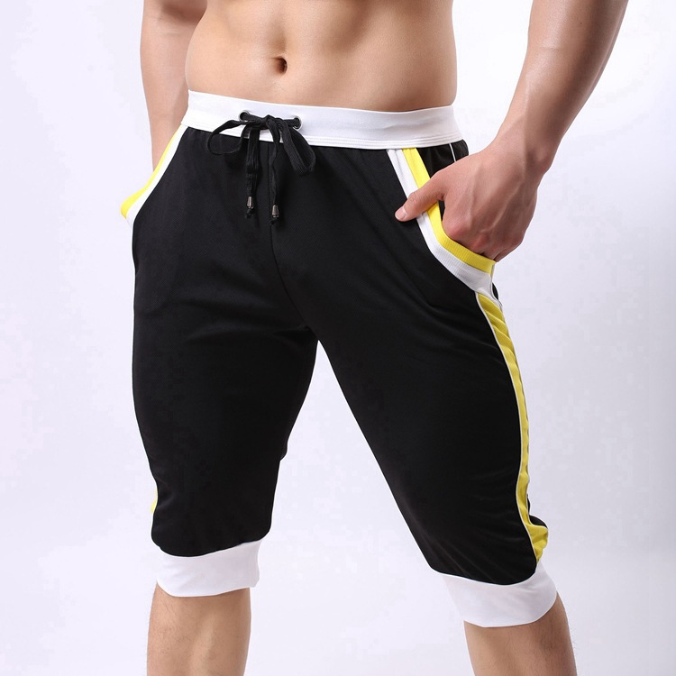 9440385da9 Mens Spring Body Building Darwstring Half length Pants Men Patchwork Color Casual  Three Quarter Trousers Male panties NYK601 -in Casual Shorts from Men's ...