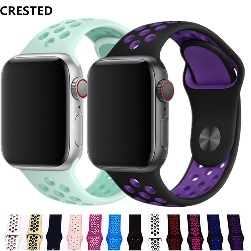 CRESTED Sport strap For Apple Watch band 42mm/38mm iwatch band 44mm/40mm correa silicone bracelet apple watch 4 3 AccessoriesCRESTED Sport strap For Apple Watch band 42mm/38mm iwatch band 44mm/40mm correa silicone bracelet apple watch 4 3 Accessories