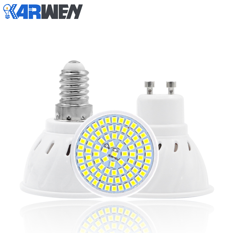 KARWEN Lampada LED Lamp GU10 MR16 E14 E27 AC 220V 230V 240V 48LEDs 60LEDs 80LEDs Cold Warm Whtie LED Bulb Spotlight