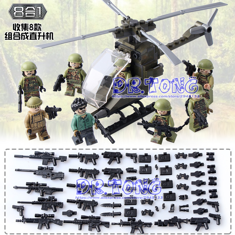 Dr.tong 80pcs/lot DLP9061 MILITARY Soldier Army WW2 Weapon Building Blocks Brick Figures Educational Toys Children Gifts human larynx model advanced anatomical larynx model