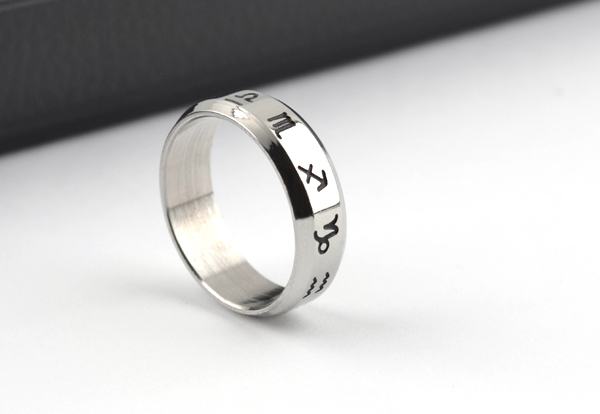 free shipping wholesale 316L Stainless Steel rings 6mm wide Twelve constellations jewelry