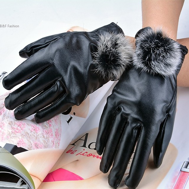 c42f91366 New Women Fur Gloves Faux Rabbit Fashion Short Design Synthetic Leather  Finger Winter Thickening Gloves 29