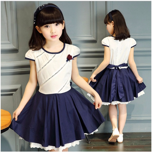 4468b8dadf95 Cute Girls Dress Shortsleeve Casual Baby Dresses Kids Summer Clothes ...