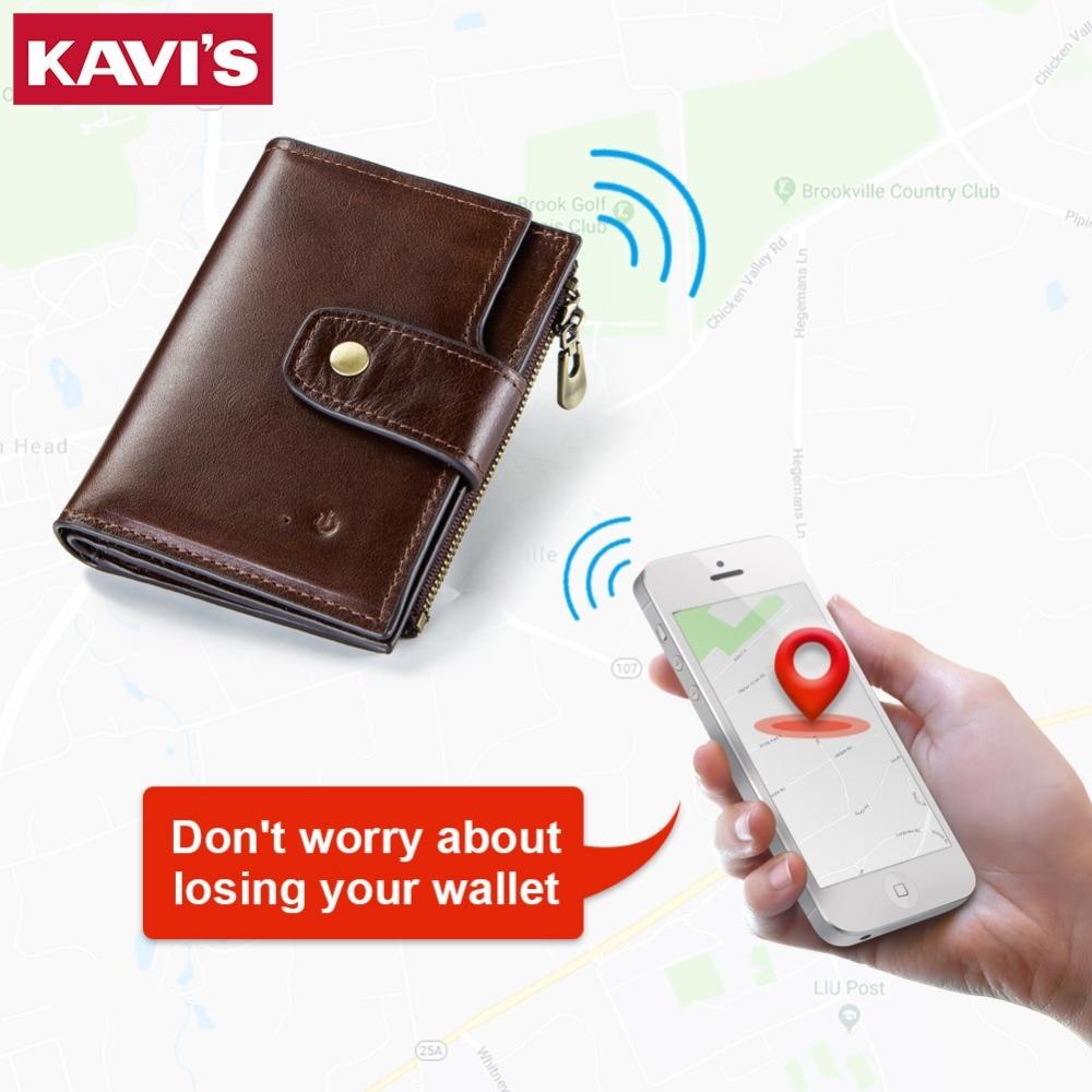 KAVIS Smart Wallet rfid Genuine Leather with alarm GPS Map Bluetooth Alarm Men Purse High Quality