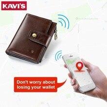 КАВИС Умный кошелек rfid натуральная кожа с сигнализацией gps карта, Bluetooth сигнализация мужской кошелек высокого качества фирменный дизайн кошельки Walet