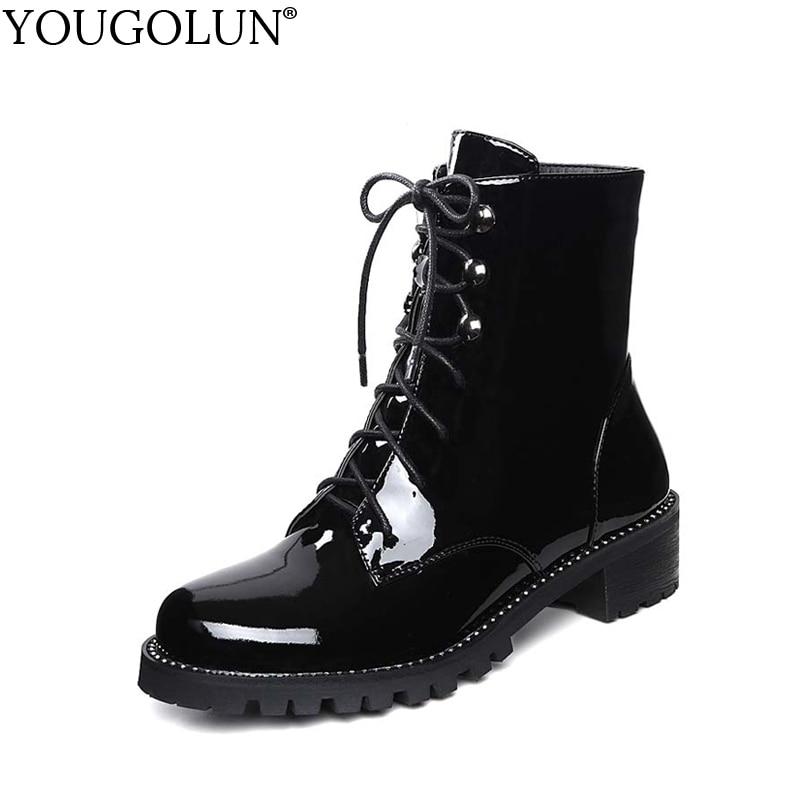 где купить YOUGOLUN Women Ankle Boots 2017 Winter Genuine Patent Leather Crystal Black Lace up Shoes Mid Square Heel 4cm Heels #Y-242 дешево
