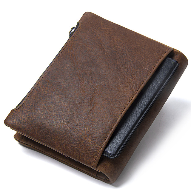 CONTACT'S Wallet Crazy Horse Genuine Leather Double Zipper Hasp Wallets Short Coin Purse With Card Holders Male portomonee Walet 1