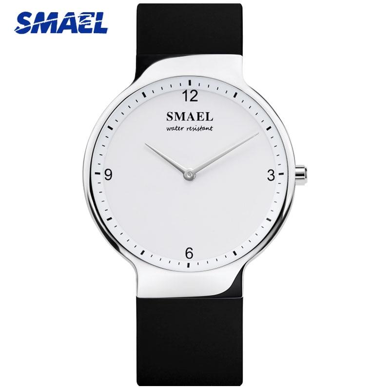 SMAEL Fashion Men Watches Simple Elegant Lover Black Waterproof Couple Quartz Watch Gifts For Men Women Clock Pair Wristwatches