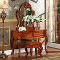 Европейский туалетный столик из цельного дерева  американский деревенский стол для макияжа в спальне  стул для макияжа