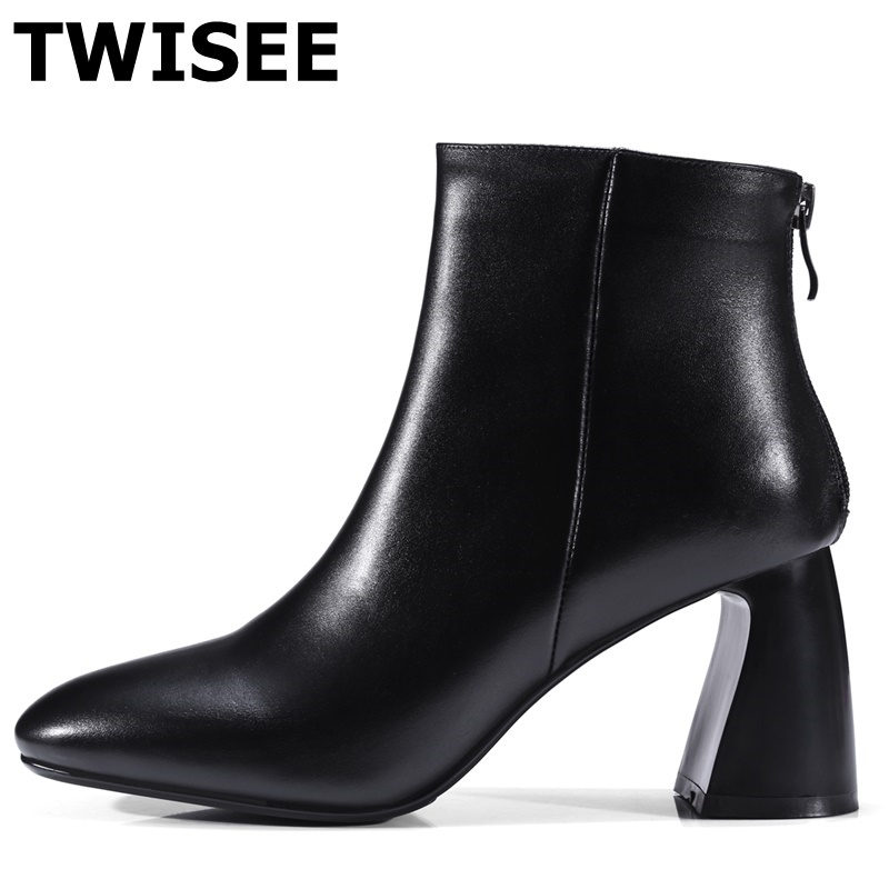 TWISEE black beige Soft Casual Genuine Leather Women Boots Hoof Heels Spring Autumn Fashion Pleated Ankle Boots high heels Shoes foppapedretti passenger spring arancio beige