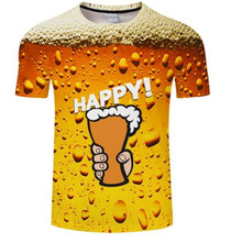 mens clothing brand O-neck letter HAPPY  beer shirt short-sleeved 3d t digital printing T-shirt Homme large size 6XL