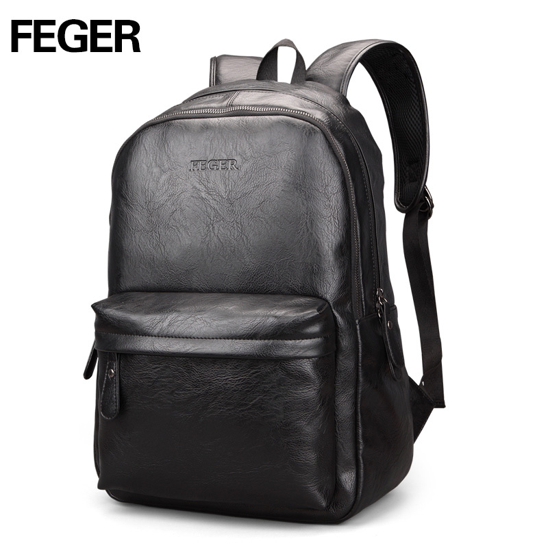FEGER school bags Laptop backpack PU Men s leather backpack Fashion back pack waterproof Big travel daily men shoulder bag in Backpacks from Luggage Bags