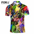FORUDESIGNS Fashion 3D Graffiti Printed Summer Men Polo Shirt Slim Fitness Breathable Men's Casual Polo Palphmen Pol Shirt Polo