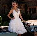 Vestido де Novia 2017 Короткие Кружева Свадебные Платья Блестками Кружева Аппликация Дешевые Свадебные Платья Свадебные Платья