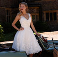 Vestido de Novia 2017 Lace Curto Vestidos de Casamento Lantejoulas Lace Applique Vestidos de Casamento Baratos Vestidos de Noiva