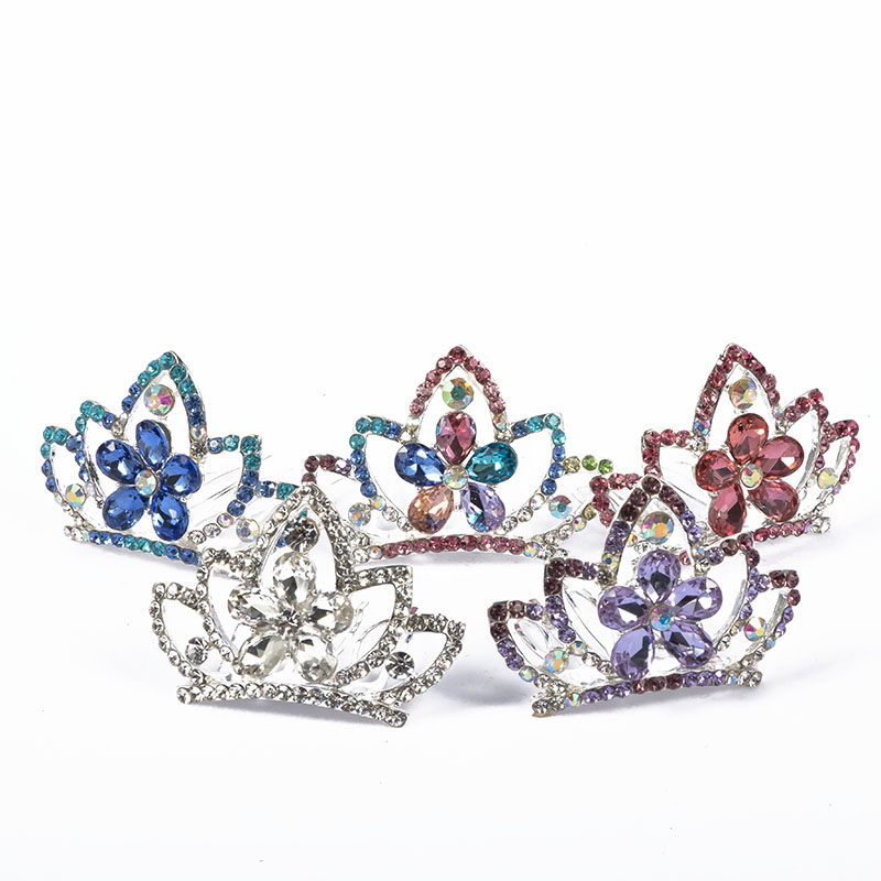 1pcs Mini Crystal Rhinestone Flower Crown Hair Comb Hair Jewelry For Girls Kids Gift Princess Hairclip Cute Tiara Hairpin