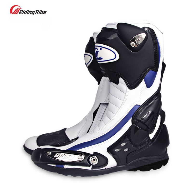 Microfiber Leather Motorcycle Riding Boots Street Moto Racing Knee Boots Motorbike Chopper Cruiser Touring Biker Shoes pro biker mcs 04 motorcycle racing half finger protective gloves red black size m pair