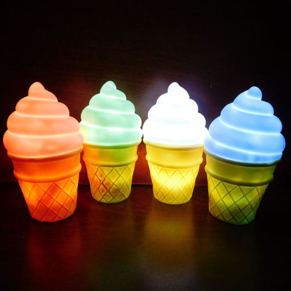 Ice Cream Led Night Light 3D Simulation Desk Lamp Christmas Holiday Gift Novelty Nightlight for kids Pink Blue Green White 3d nightlight creative novelty gift to send to friends birthday cat animation desk lamp bedside lamp