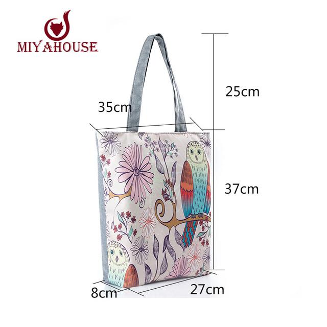 Cartoon Owl Print Casual Tote Lady Canvas Beach Bag Female Handbag Large Capacity Daily Use  Women Single Shoulder Shopping Bags