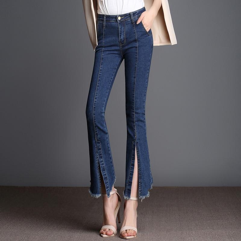 Flare jeans For Women 2017 Ankle Length Pants Front Split Tassels Stretch Slim jeans Woman High Waist Plus Size Denim Trousers kicx pdn 652