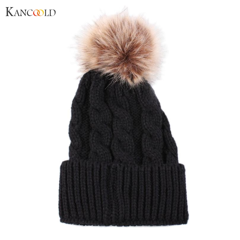 New Knitted Wool Hat Women Beanies Winter Crochet Thicken Hat Solid Beanie Warm Cap For Womens Casual Fur Ball Skullies Dec12GBY knitted skullies cap the new winter all match thickened wool hat knitted cap children cap mz081