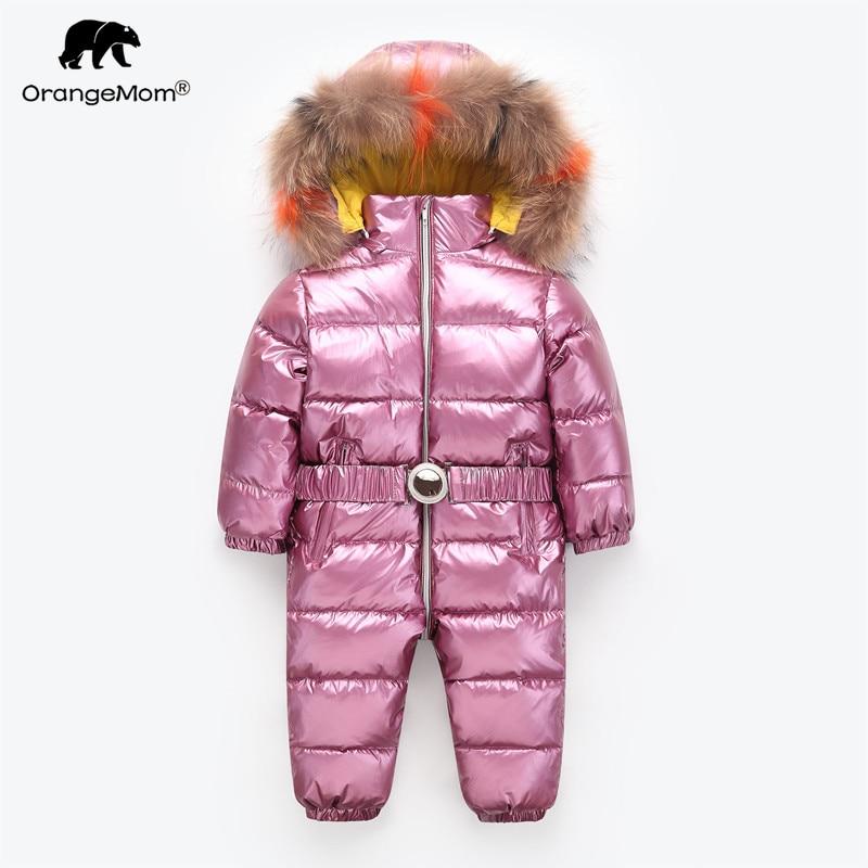 Orangemom/Детская Детские комбинезоны зимняя куртка брендовая куртка для девочек одежда, утепленная куртка для маленьких девочек младенческой ...