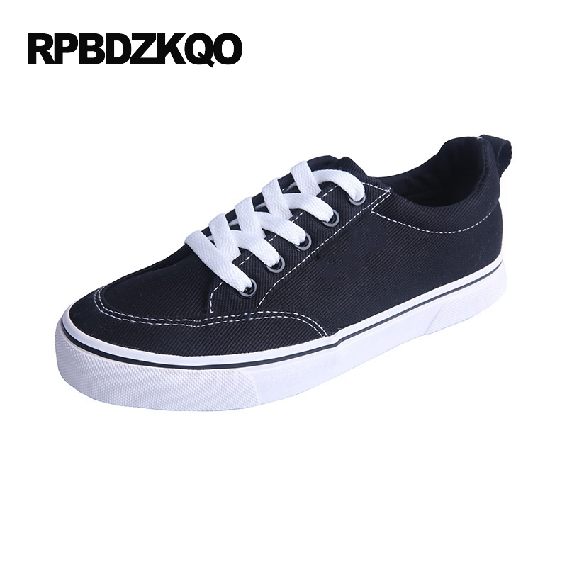 Cheap Women Size 35 Leisure Korean Plain Round Toe Black Flats Lace Up 2017 Platform Ladies Canvas Shoes Drop Shipping Beautiful