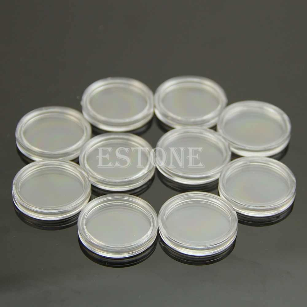 10pcs 21mm Clear Round Cases Coin Storage Capsules Holder Round Plastic New