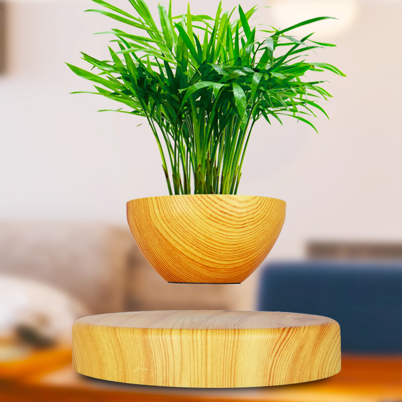 Levitating Air Bonsai <font><b>Pot</b></font> - <font><b>Magnetic</b></font> Levitation Suspension <font><b>Flower</b></font> Floating <font><b>Pot</b></font> Potted Plant for Home Office Decor image