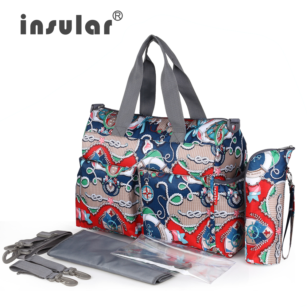 28f0f13643de Insular Nylon Mother Baby Bag Sets Big Maternity Tote Handbag Diaper Nappy  Bag Baby Stroller Trolley Bag Large Newborn Baby Bag-in Diaper Bags from  Mother ...