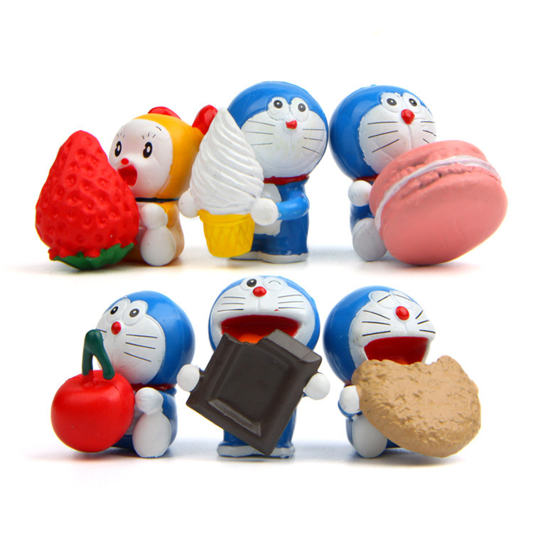6 Pcs/set Cute Fruit Doraemon Cartoon Animiation Action Figure Doll Keychain House Birthday Christmas Gifts Kids Toys