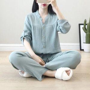 Image 2 - Krepa bawełniana z dekoltem w kształcie litery v piżamy garnitur kobiety jesień cienkie gaza małe stoisko kołnierz z długim rękawem spodnie koreański rozrywka usługi w domu