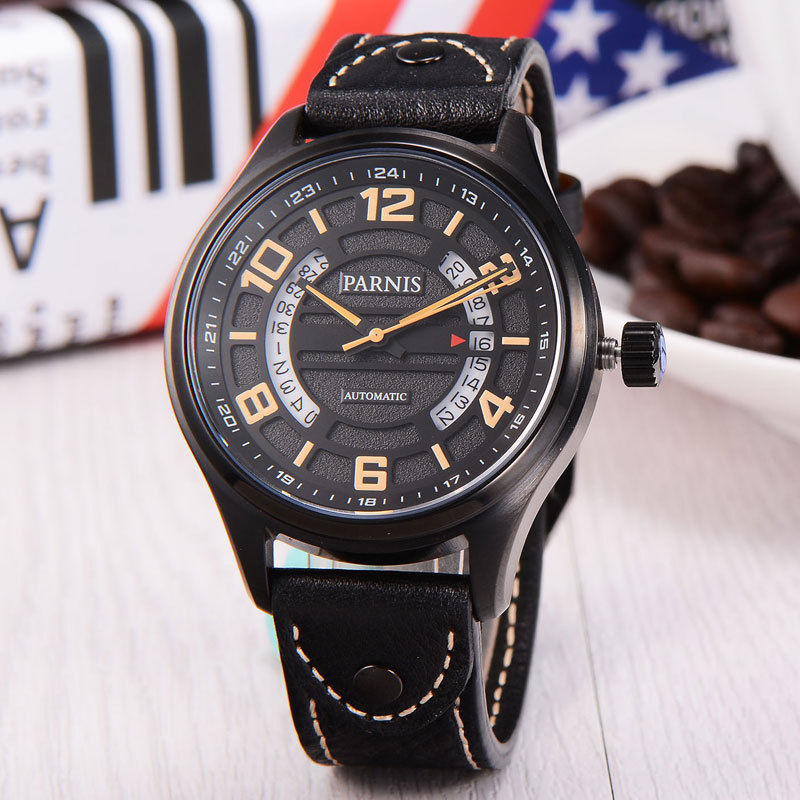 лучшая цена 43mm Parnis Black Dial PVD Case Date Automatic Mens Wrist Watch Miyota Movement