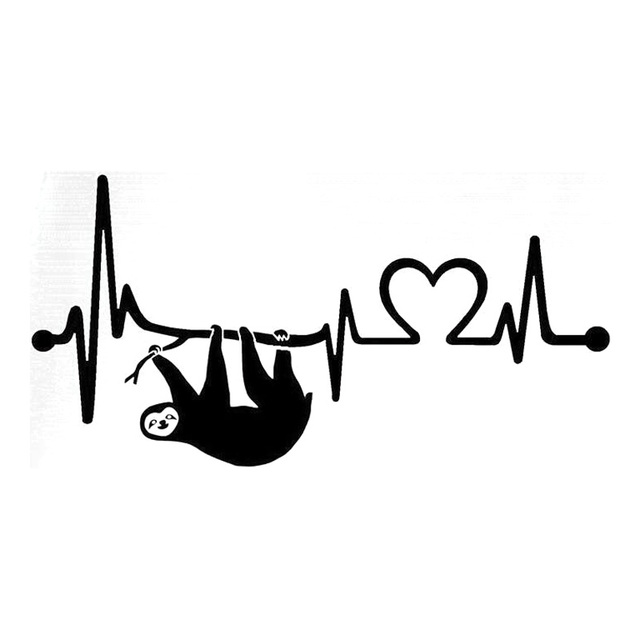 20 3cm10 2cm sloth heartbeat lifeline monitor stickers decals motorcycle black silver s3