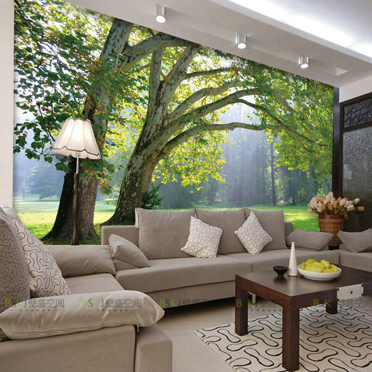 tree murals bedroom living room sofa tv background wall mural. Black Bedroom Furniture Sets. Home Design Ideas