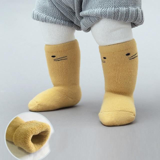 3pcs/lot Cotton Baby Socks Warm Fleece Newborn Infant Sock Knee High Socks  Baby Leg Warmer Breathable Anti Slip 0-3Y Wazi005