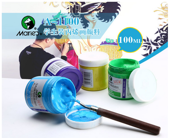 1pc Acrylic Paints 100ML Maries Hand-painted wall painting textile paint colored Art Supplies stationary set AOA019 6 ml 12 colors professional acrylic paints set hand painted wall painting textile paint brightly colored art supplies free brush