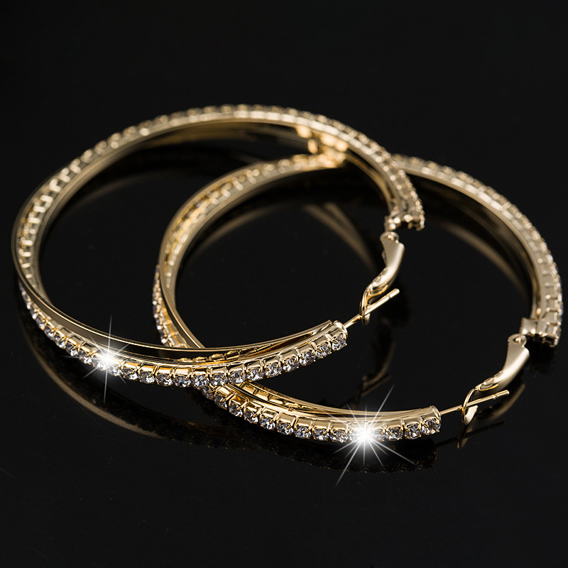 HOMOD Silver/Gold Colors Big Hoop Earring For Women Fashion Round Earrings Simple Pierced Evening Party