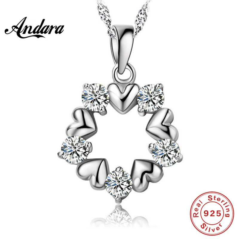 <font><b>ANDARA</b></font> New 925 Sterling Silver Eternal Love Pendant Necklace Ladies Luxury Boutique Gift Exquisite Jewelry image