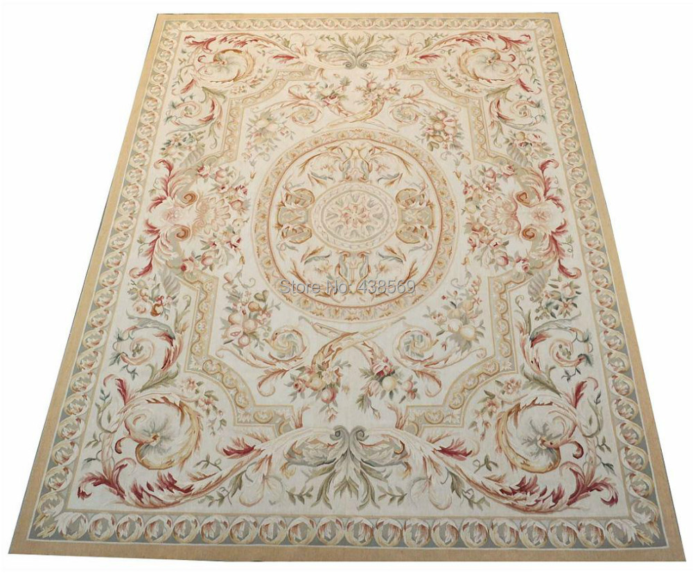Free shipping 8'x10' Aubusson rugs Beige medallian woolen aubusson - Home Textile