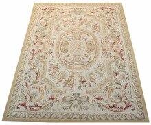 Livraison gratuite 8'x10' Aubusson tapis Beige medallian laine aubusson tapis pour la décoration de la maison tapis de chambre