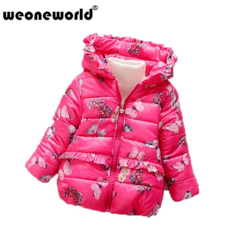 e24996b33c36 WEONEWORLD Winter Jacket Girls Child Down Parkas Coat Butterfly ...
