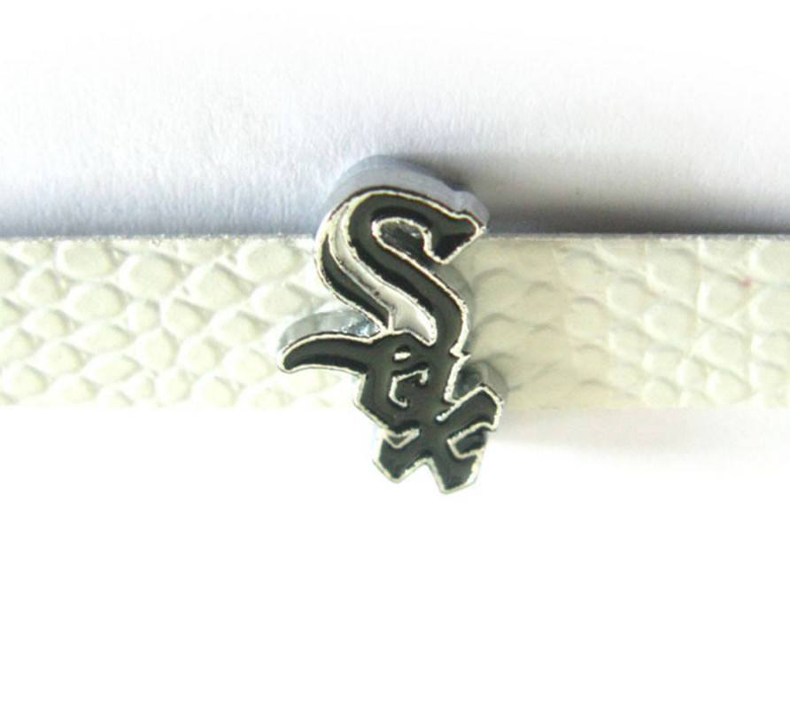 20PCS Baseball Slide Charms 8mm Alloy With Enamel Chicago White Sox Slide Charms Fit Pet Collar DIY Necklace & Bracelet