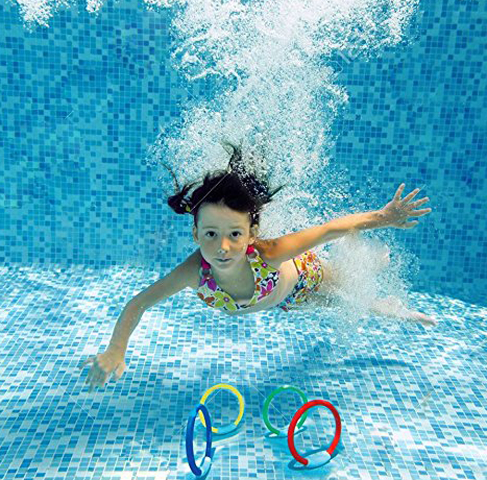 4 Pcs 2018 Child Diving Ring Water Toys Summer Underwater Swimming Pool Accessories Diving Buoys Four Loaded Throwing Toys
