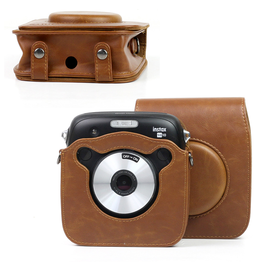 Full Body Camera PU Leather Case Bag with Strap for Fujifilm Instax Square SQ20 Reliable Color : Black